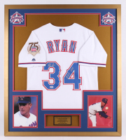 "Nolan Ryan Signed Texas Rangers 32x36 Custom Framed Jersey Inscribed ""H.O.F. 1999"" (PSA COA) at PristineAuction.com"