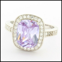 .925 Sterling Silver White Gold Plated Amethyst & White Sapphire Ring