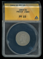1869 5c Five-Cent Pattern Coin, J-684 (ANACS Proof 15)