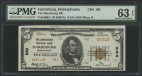 1929 $5 Five Dollars U.S. National Currency Bank Note - FRBN - Harrisbug, Pennsylvania (PMG 63) (EPQ) at PristineAuction.com