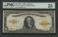 1922 $10 Ten Dollars U.S. Gold Certificate Large Size Bank Note (PMG 25)