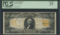 1906 $20 Twenty Dollars U.S. Gold Certificate Large Size Bank Note (PCGS 25)