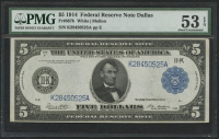 1914 $5 Five Dollars Federal Reserve Large Size Bank Note - Dallas (PMG 53) (EPQ)