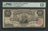 1891 $10 Ten Dollars Silver Certificate Large Size Bank Note (PMG 12)
