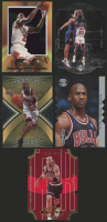 Lot of (5) Assorted Michael Jordan Basketball Cards with 1996-97 Upper Deck Fast Break Connections #FB23, 1995-96 SP Championship Championship Shots #S16, 1997-98 Collector's Choice Star Attractions #SA1