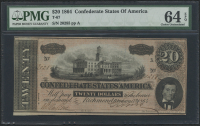 1864 $20 Twenty Dollars Confederate States of America Richmond CSA Bank Note Bill (T-67) (PMG 64) (EPQ)
