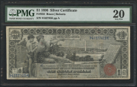 "1896 $1 One Dollar ""Educational Series"" U.S. Silver Certificate Large Size Currency Bank Note (PMG 20)"