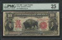 1901 $10 Ten Dollars Legal Tender Large - Bison Currency Note (PMG 25)