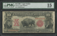 1901 $10 Ten Dollars Legal Tender Large - Bison Currency Note (PMG 15)