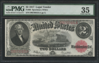 1907 $2 Two Dollars Legal Tender Large Bank Note (PMG 35)