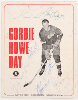 Gordie Howe Day Souvenir Program Signed by (7) With Gordie Howe, Johnny Bower, Johnny Bucyk, Clarence Campbell with Inscription (PSA Hologram)