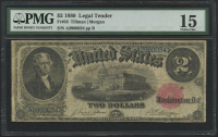 1880 $2 Two Dollars Legal Tender Large Bank Note (PMG 15)