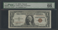 "1935A $1 One Dollar Hawaii ""Emergency Note"" Brown Seal Federal Reserve Note (PMG 66) at PristineAuction.com"