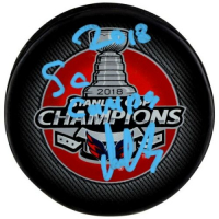 "Alexander Ovechkin Signed 2018 Stanley Cup Champions Logo Hockey Puck Inscribed ""2018 SC Champs"" (Fanatics Hologram) at PristineAuction.com"