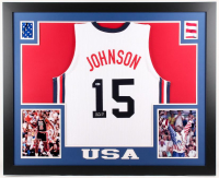 Magic Johnson Signed Team USA 35x43 Custom Framed Jersey (Beckett COA)