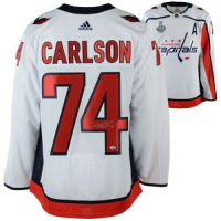 John Carlson Signed Washington Capitals 2018 Stanley Cup Final Alternate Captain Jersey (Fanatics Hologram) at PristineAuction.com