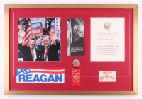Ronald Reagan 22x32 Custom Framed Photo Display with 1981 Inauguration Invitation, Pin, & (2) Stickers