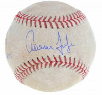 "Aaron Judge Signed Game-Used OML Baseball Inscribed ""GU 6/6/17"", ""2-4 2B"" & ""17 AL ROY.""  (Fanatics Hologram)"