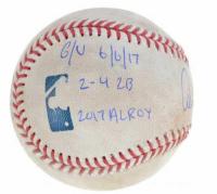 "Aaron Judge Signed Game-Used OML Baseball Inscribed ""GU 6/6/17"", ""2-4 2B"" & ""17 AL ROY"" (MLB Hologram & Fanatics Hologram) at PristineAuction.com"