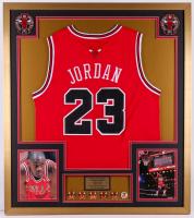 Michael Jordan Chicago Bulls 32x36 Custom Framed Jersey with Championship Pins