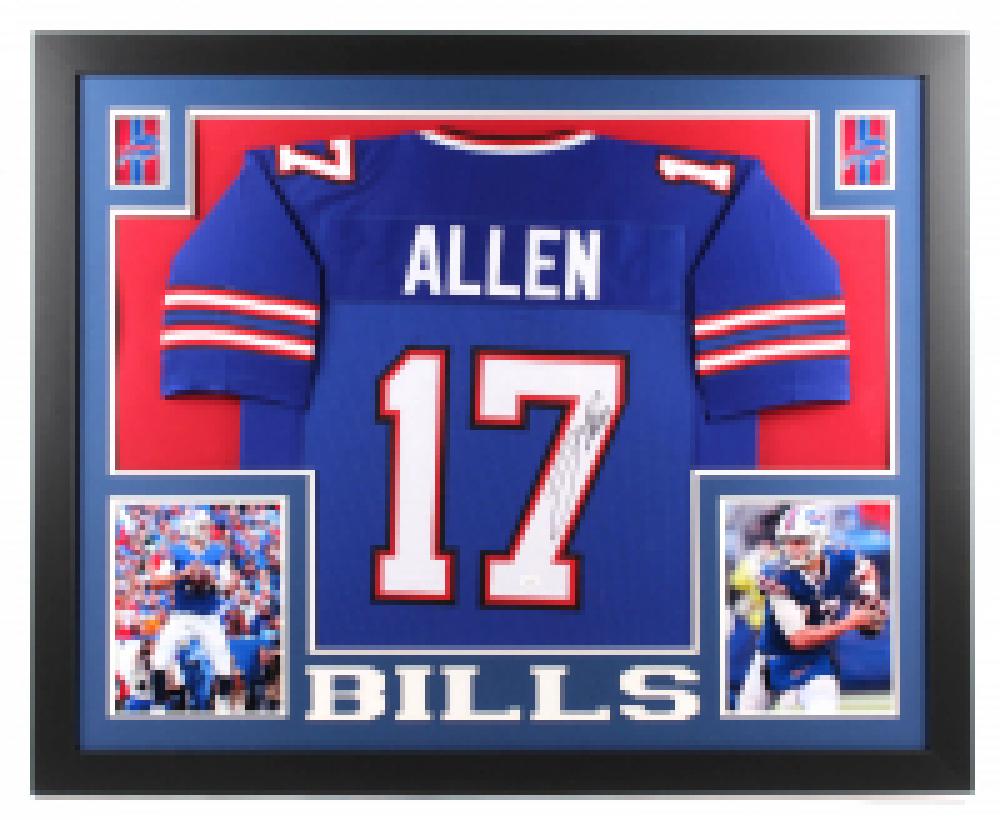 af845b71976 Josh Allen Signed Buffalo Bills 35x43 Custom Framed Jersey (JSA Hologram)