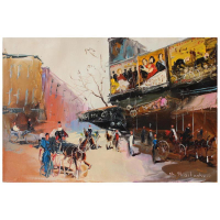 "Shalva Phachoshvili Signed ""Movie Theater"" 15x10 Original Oil on Canvas at PristineAuction.com"