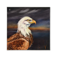 """Martin Katon Signed """"Light in the Night (North American Bald Eagle)"""" 24x24 Original Oil Painting on Canvas"""