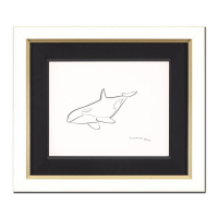 "Wyland Signed ""Orca"" 22x19 Custom Framed Original Sketch at PristineAuction.com"