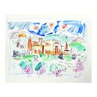 """Wayne Ensrud Signed """"Clos Pegase, Napa Valley"""" 14x17 Mixed Media Original Artwork at PristineAuction.com"""