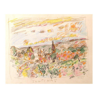 "Wayne Ensrud Signed ""Santenay, Burgundy"" 15x18 Pencil Original Artwork at PristineAuction.com"