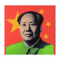 "Steve Kaufman Signed ""Mao"" Hand Embellished Limited Edition 20x20 Silkscreen on Canvas #19/50"