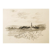 "Wayne Ensrud Signed ""Village of Puligny-Montrachet, Burgundy"" 15x18 Pencil Original Artwork at PristineAuction.com"
