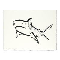 "Wyland Signed ""Tiger Shark"" 22x30 Original Sumi Ink Painting"
