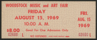 Woodstock Authentic Unused Ticket from August 15, 1969