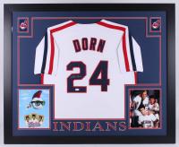 """Corbin Bernsen Signed """"Major League"""" Cleveland Indians 35x43 Custom Framed Jersey (JSA COA)"""