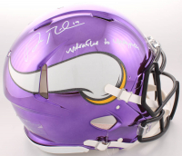 """Adam Thielen Signed Minnesota Vikings Full-Size Authentic On-Field Chrome Speed Helmet Inscribed """"Undrafted to Unstoppable"""" (TSE Hologram)"""