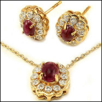 Ruby & Diamond Designer Earring & Necklace Set