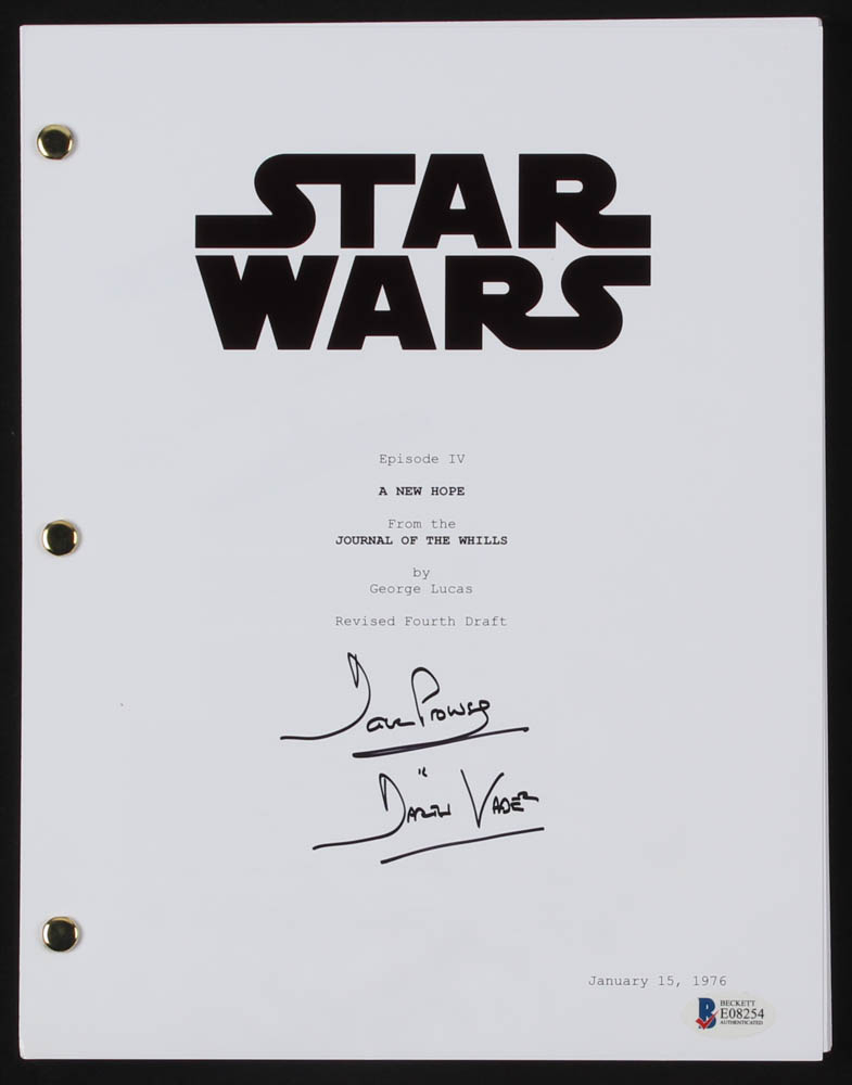 David Prowse Signed Star Wars Episode Iv A New Hope Full Movie Script Inscribed Darth Vader Beckett Coa Pristine Auction
