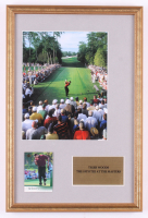 """Tiger Woods """"The Masters"""" 12x18 Custom Framed Photo with 2001 Upper Deck #1 RC"""