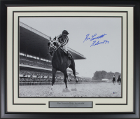 """Ron Turcotte Signed 1973 Belmont Stakes 22x27 Custom Framed Photo Display Inscribed """"Belmont 73"""" (Beckett COA)"""