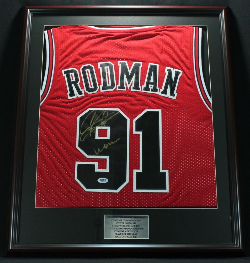 dennis rodman signed bulls 22x26 custom framed jersey inscribed worm psa coa