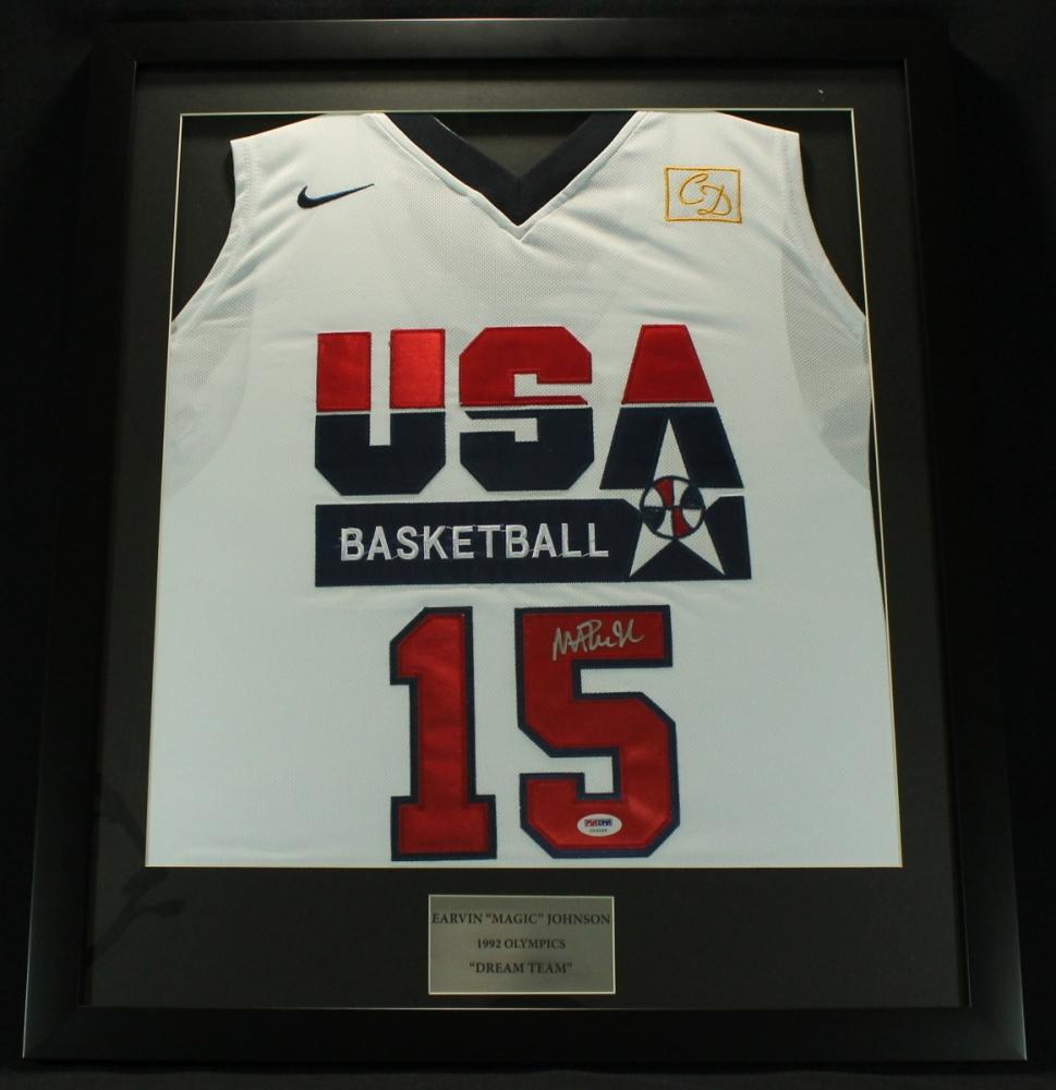 magic johnson signed team usa 22x26 custom framed jersey psa coa at pristineauction