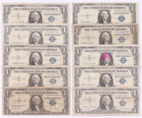 Lot of (10) 1935-1957 $1 One Dollar Blue Seal Silver Certificate Bank Notes with (1) Star Note