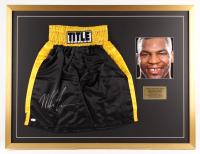 Mike Tyson Signed 29x38 Custom Framed Shorts Display (JSA COA)