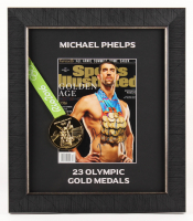 Michael Phelps Signed 17x19.5 Custom Framed Photo Display with Gold Medal (JSA COA)