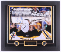 Tim Thomas Signed Bruins 2011 Stanley Cup Champions 23.5x27.5 Custom Framed Photo Display (Thomas Hologram & Sure Shot Promotions Hologram)