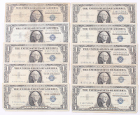 Lot of (10) 1957 $1 One Dollar Blue Seal Silver Certificate Bank Notes