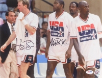 Magic Johnson & Larry Bird Signed Team USA 11x14 Photo (PSA LOA)