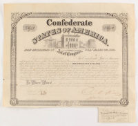 1864 $1,000 One Thousand Dollar Confederate States of America Richmond CSA Bond with (1) Uncut $30 Coupon