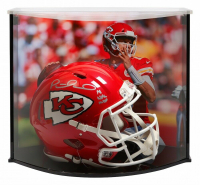 """Patrick Mahomes Signed Kansas City Chiefs Full-Size Authentic On-Field Speed Helmet Inscribed """"18 NFL MVP"""" with Curve Display Case (Fanatics Hologram)"""